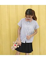 Women's Going out Simple Shirt,Solid Striped Shirt Collar Short Sleeves Cotton