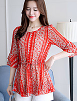 Women's Going out Casual/Daily Cute Summer Blouse,Floral V Neck Short Sleeve Polyester Thin