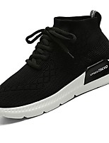 Men's Sneakers Running Comfort Light Soles Tulle Net Fall Winter Casual Lace-up Low Heel Ruby Black White Under 1in
