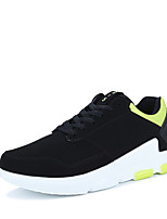 Men's Sneakers Comfort PU Spring Fall Athletic Casual Outdoor Lace-up Flat Heel Black/Green Black/Red Black/White Black Flat