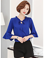 Women's Going out Simple Blouse,Solid V Neck Half Sleeves Polyester Spandex