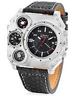 JUBAOLI Hombre Reloj Deportivo Reloj Militar Reloj creativo único Chino Cuarzo Calendario Dos Husos Horarios Piel Banda Cool Negro Caqui