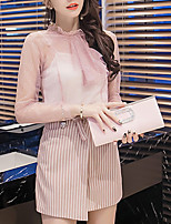 Women's Going out Casual/Daily Boho Fall Winter Blouse Skirt Suits,Solid Striped Stand Long Sleeve Inelastic