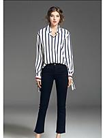 Camicia Da donna Casual Semplice A strisce Colletto Cotone Manica lunga