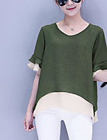 Women's Casual/Daily Simple Blouse,Solid Round Neck Half Sleeves Polyester