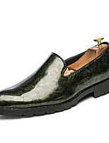 Men's Shoes Patent Leather Spring Fall Comfort Loafers & Slip-Ons With Flower For Casual Party & Evening Red Black Gold