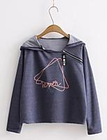 T-shirt Da donna Per uscire Casual Sensuale Semplice Moda città Estate Autunno,Tinta unita Con stampe Con cappuccio Cotone Manica lunga