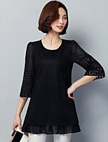 Damen Solide Retro Ausgehen T-shirt,Rundhalsausschnitt Halbe Ärmel Baumwolle