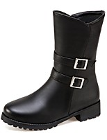 Women's Boots Fashion Boots Leatherette Fall Winter Casual Dress Buckle Chunky Heel Almond Brown Black 1in-1 3/4in