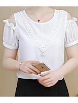 Для женщин На выход На каждый день Весна Лето Блуза Круглый вырез,Секси Очаровательный Однотонный С короткими рукавами,Хлопок Акрил Нейлон