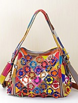 Women Bags Spring/Fall Summer Cowhide Tote Appliques Flower Plaid Split Joint for Casual Office & Career Rainbow