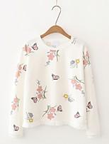 Feminino Camiseta Para Noite Casual Simples Fofo Moda de Rua Verão Outono,Sólido Estampado Algodão Decote Redondo Manga Longa Fina Média