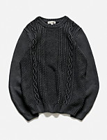 Men's Casual/Daily Simple Short Pullover,Solid Round Neck Long Sleeves Cotton Polyester Others Spring Thin Micro-elastic