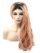Fashion Ombre Hair Water Wave Smoke Pink Long Length Wig Peach Wave Synthetic Lace Front Wigs with Dark Roots Heat Resistant Orange Party Lace Wig