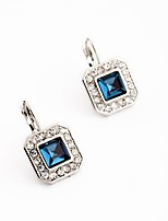 Women's Drop Earrings Imitation Sapphire Floral Gray Pearl Square Jewelry For Party Gift Evening Party Stage