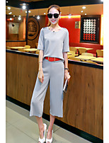 Women's Going out Soak Off Summer Blazer Pant Suits,Solid Round Neck Short Sleeve