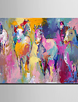 Mini Size E-HOME Oil painting Modern Abstract Pink Hhorse Pure Hand Draw Frameless Decorative Painting