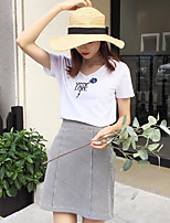 Women's Casual/Daily Simple T-shirt,Letter V Neck Short Sleeves Cotton