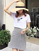 Tee-shirt Femme,Lettre Décontracté / Quotidien simple Manches Courtes Col en V Coton