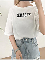 Women's Going out Simple T-shirt,Letter Round Neck Half Sleeves Linen