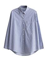 Для женщин На выход На каждый день Лето Осень Рубашка Рубашечный воротник,Секси Простое Уличный стиль Полоски Цветочный принтДлинный