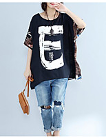 Women's Casual/Daily Simple T-shirt,Solid Print Letter Round Neck Short Sleeves Cotton