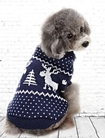 Cat Dog Sweatshirt Dog Clothes Party Casual/Daily Christmas Solid Blue Ruby