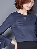 Women's Going out Casual/Daily Simple Blouse,Solid Round Neck Long Sleeves Polyester
