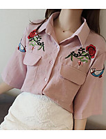 Women's Casual/Daily Simple Shirt,Print Shirt Collar 3/4 Length Sleeves Others