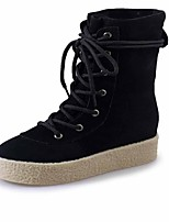 Women's Boots Fashion Boots Fall Winter PU Casual Dress Lace-up Wedge Heel Khaki Black 1in-1 3/4in