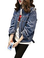 Women's Plus Size Going out Casual/Daily Simple Street chic Punk & Gothic Fall Winter Denim Jacket,Solid Stand Long Sleeve Regular Cotton