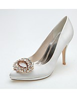Women's Wedding Shoes Formal Shoes Satin Spring Summer Wedding Party & Evening Rhinestone Stiletto Heel Blushing Pink Black White4in-4