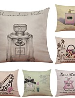 Set of 6  Perfume Bottle High Heels Linen Cushion Cover Home Office Sofa Square Pillow Case Decorative Cushion Covers Pillowcases (18*18Inch)