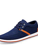 Для мужчин Кеды Удобная обувь Весна Осень Деним Повседневные Шнуровка На плоской подошве Черный Темно-синий На плоской подошве