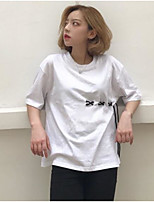 Women's Going out Casual/Daily Cute T-shirt,Solid Round Neck Short Sleeves Cotton