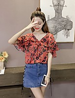 Women's Casual/Daily Cute Summer Blouse,Floral V Neck Short Sleeves Polyester Thin