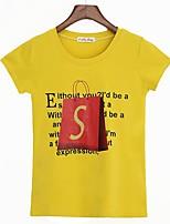 T-shirt Da donna Casual Semplice Alfabetico Rotonda Cotone Manica corta