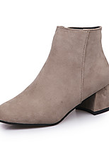 Women's Boots Comfort Leatherette Fall Winter Casual Zipper Low Heel Almond Camel Black 1in-1 3/4in