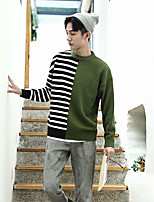 Men's Casual/Daily Simple Short Pullover,Color Block Crew Neck Long Sleeves Wool Others Spring Fall Thin Micro-elastic