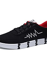 Men's Sneakers Light Soles PU Spring Fall Casual Lace-up Flat Heel Black/Red Black/White Blue White Flat