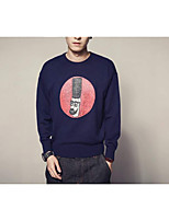 Men's Going out Casual/Daily Vintage Simple Regular Pullover,Solid Print Round Neck Long Sleeves Cotton Rayon Fall Winter Medium Thick
