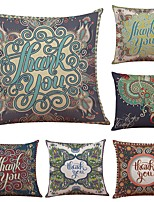 Set of 6 Retro Decoration Flowers Linen Cushion Cover Home Office Sofa Square Pillow Case Decorative Cushion Covers Pillowcases (18*18Inch)