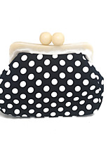 Women Bags Spring Summer PVC Evening Bag Chain Polka Dot for Wedding Event/Party Black-white