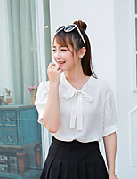 Women's Casual/Daily Simple Blouse,Solid V Neck Short Sleeves Polyester