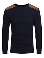 Men's Plus Size Casual/Daily Simple Regular Pullover,Solid Round Neck Long Sleeves Cotton Spring Fall Medium Stretchy