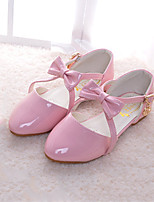 Girls' Flats Comfort Novelty Flower Girl Shoes Fall Winter Synthetic Microfiber PU Casual Dress Bowknot Buckle Flat Heel Blushing Pink