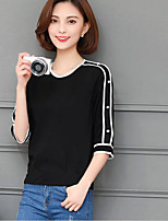 Women's Casual/Daily Simple T-shirt,Solid Round Neck 3/4 Length Sleeves Cotton