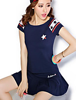 Women's Going out Casual/Daily Simple Summer T-shirt Skirt Suits,Solid Print Crew Neck Short Sleeve Micro-elastic