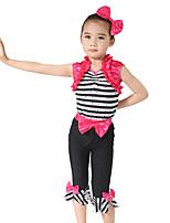 Tenues de Danse pour Enfants Tenue Enfant Spectacle Spandex Élastique Elasthanne Satin Elastique Nœud papillon Plissé Sans manche Taille