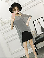 Women's Casual/Daily Simple Summer T-shirt Skirt Suits,Striped Boat Neck Short Sleeve